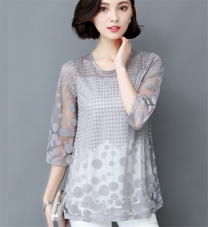 HTB1VQegOXXXXXaWXpXXq6xXFXXX5 - 5XL Women Fashion Elegant Lace Blouse Shirt Chiffon 3/4 Sleeve