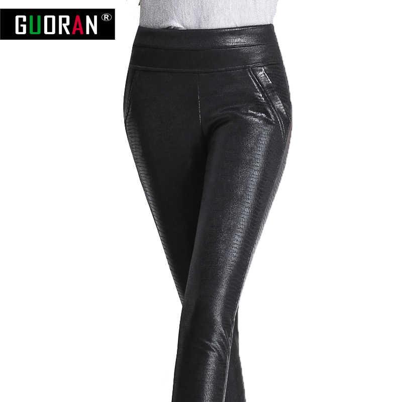fe326f385f9 ... Plus size 4XL women leather pants PU leggings elastic high waist skinny  stretch pencil pants Patchwork