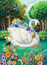 Swan&gifts New Year D DIY embroidery Diamond Painting 3D Cross Stitch kits Mosaic floral&animal paintings wall sticker decora(China)