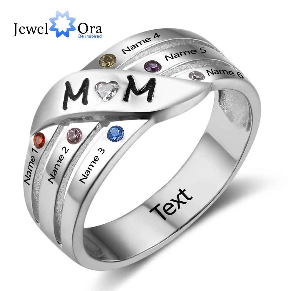 Подарок матери Персонализация на заказ камень кольцо выгравировать фамилия любовь 925 пробы серебряные кольца (JewelOra RI102740)
