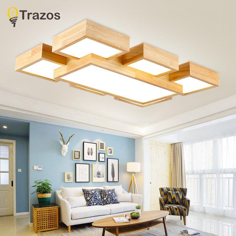 TRAZOS led Plafonnier 96 W En Bois Chambre Balcon Lampes Simplicité Moderne Blanc froid blanc chaud pour chambre/cuisine /couloir