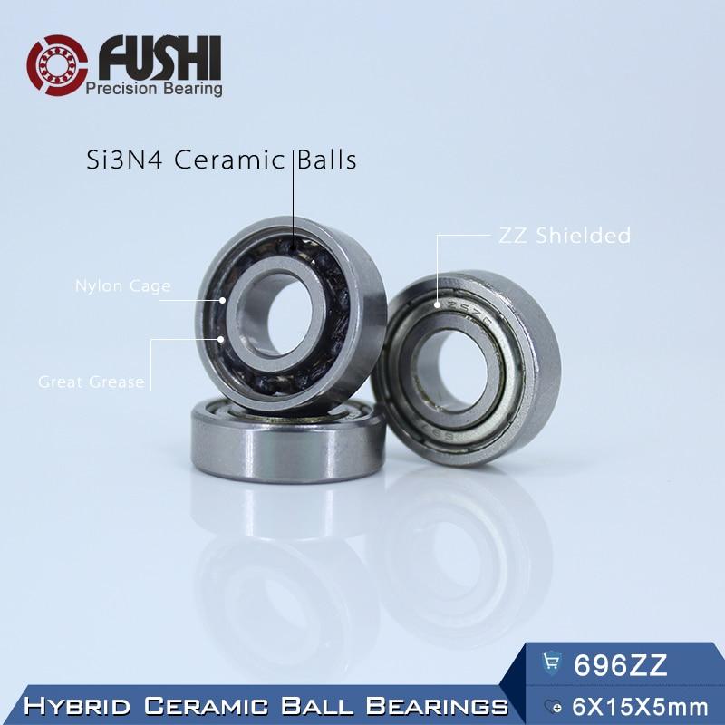 696 Hybrid Ceramic Bearing 6*15*5 mm ABEC-1 ( 1 PC) Industry Motor Spindle 696HC Hybrids Si3N4 Ball Bearings 3NC 696ZZ топор truper hc 1 1 4f 14951
