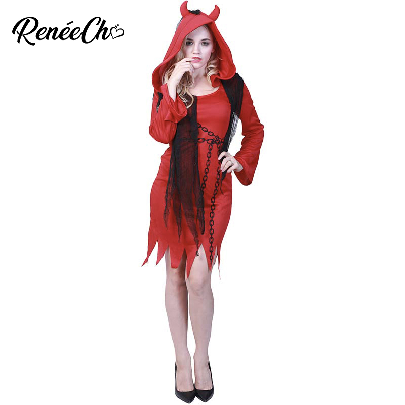 Reneecho 2018 Women Costume kostum halloween Adult Devil Costume For Women vampire cosplay adulte femme red demon fancy dress