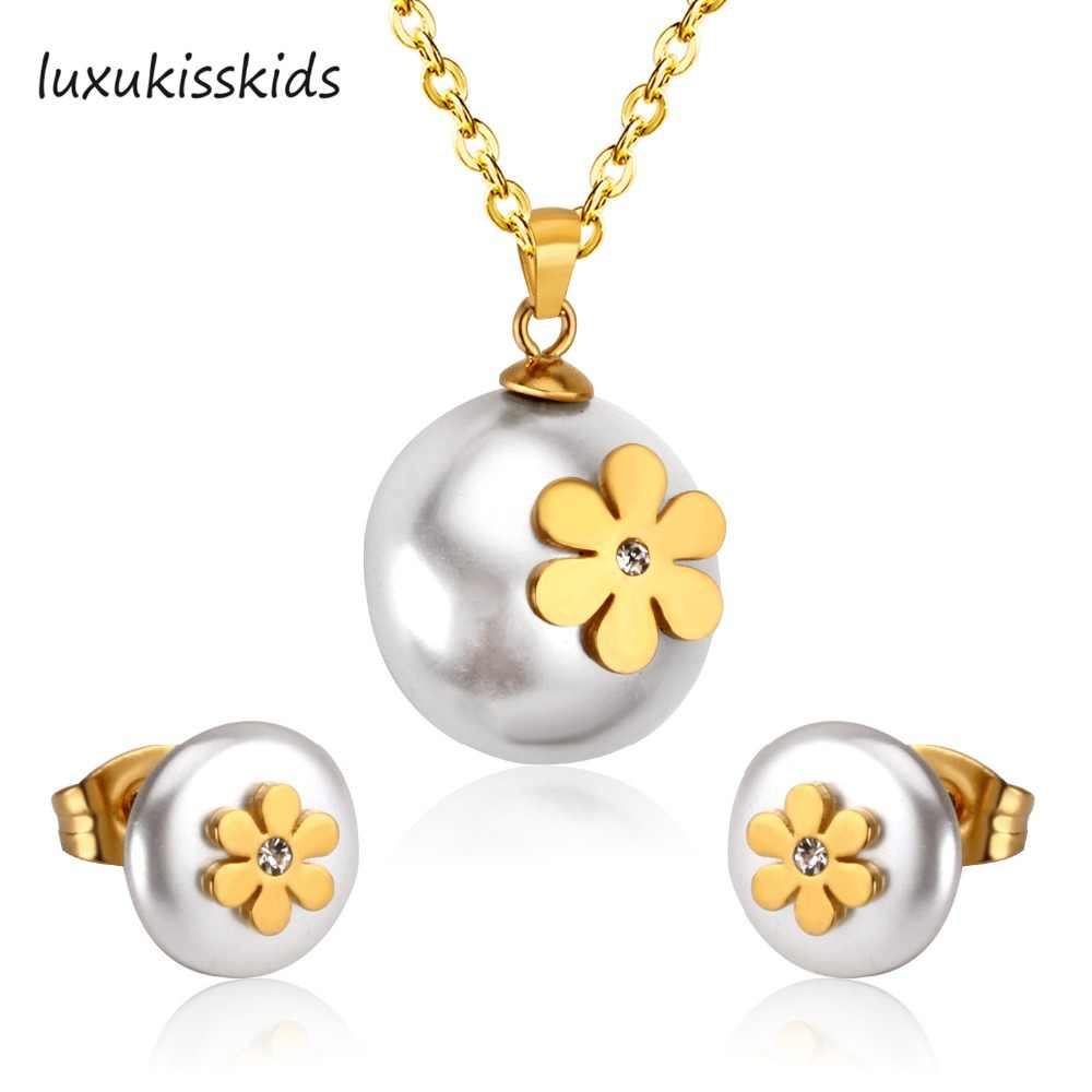 LUXUKISSKIDS Brand New Fake Pearl Jewelry set With Flower Stainless Steel Sets Good quality