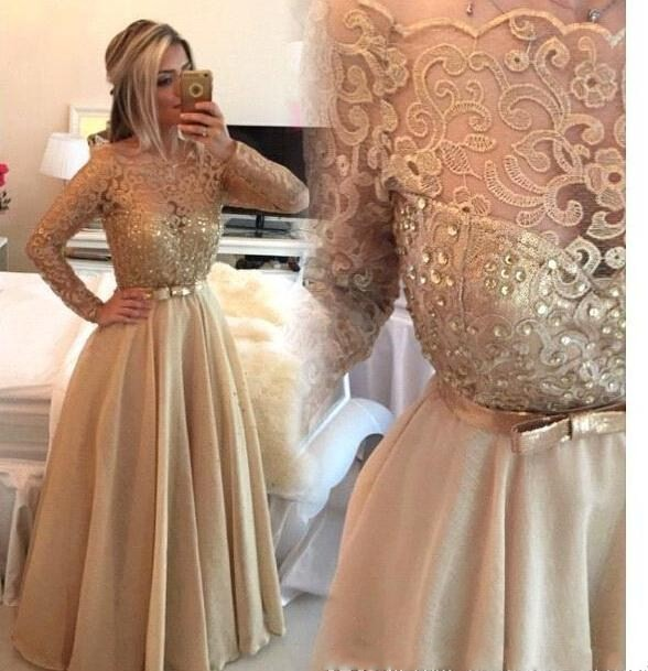 2017 Sheer Crew Gold Lace Long Prom Dresses Long Sleeves Beaded A