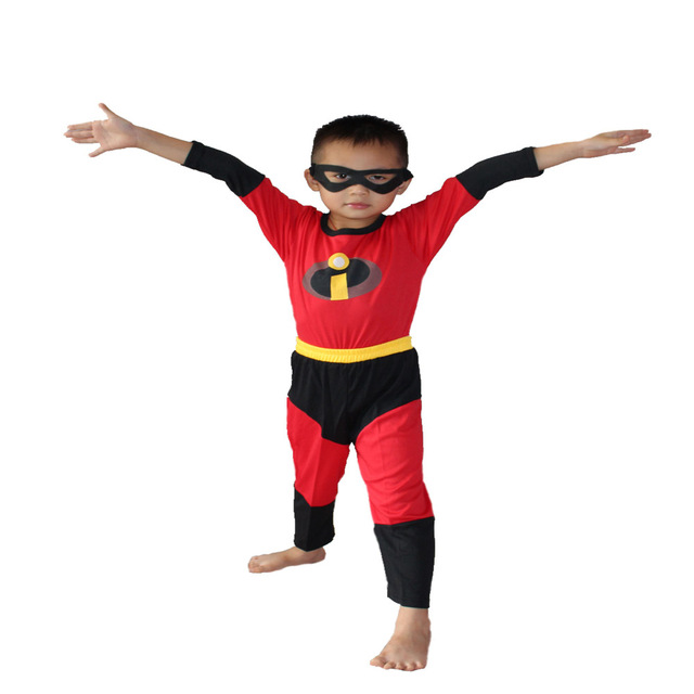 Halloween Full Set The Incredibles Child Spandex Bodysuit The Incredibles 2 Kids Cosplay Costume + Mask