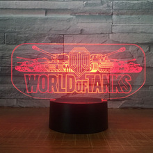 2018 World Tank Car 3D Night Light Electric Illusion 3d Lamp LED 7 Color changing USB touch Desk For Kids Birthday Gift