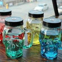 Новое поступление 450 мл Прозрачный фруктовый сок прохладный напиток стекло череп Мейсон банка бутылка для лимона с крышкой соломы Спортивная бутылка