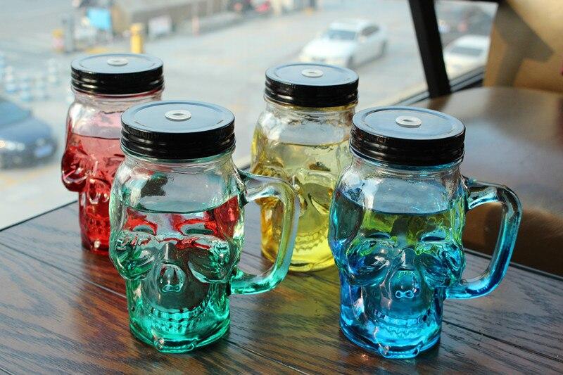 Nueva llegada 450 mL jugo de fruta transparente bebida fresca del cráneo de cristal tarro de albañil limón botella con la paja deporte botella