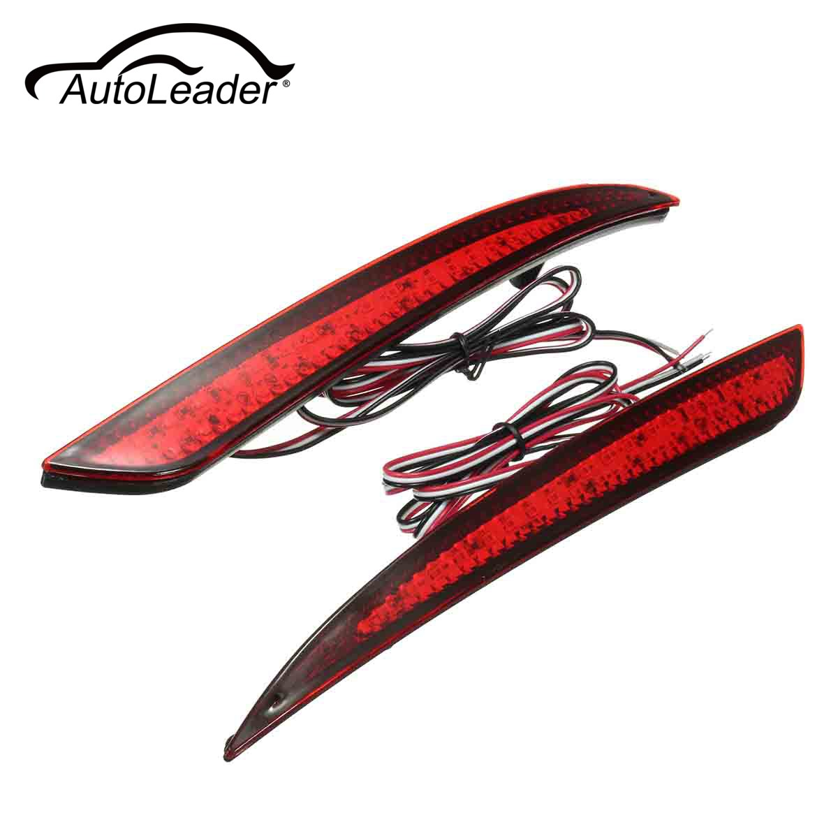 Autoleader 1Pair Red Len Reflector Rear Tail LED Bumper Light Brake Stop Lamp Fog Light For Ford/Fusion 2013-2015 12V 30 LEDs  clear smoke red lens motorcycle red led brake stop rear fender tip tail light indicator lamp for harley breakout fxsb 2013 2016