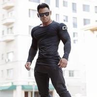 Mens T Shirts Fashion Brand Autumn New Leisure T Shirt Tops Men Fitness Bodybuilding Long Sleeve