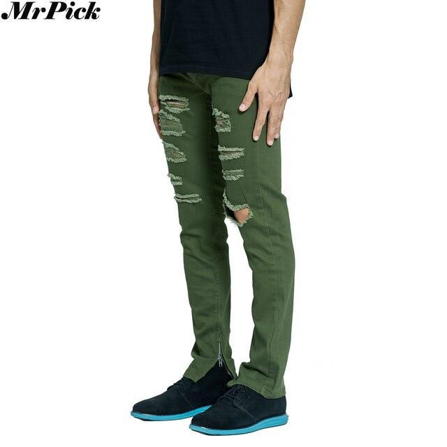 77d61a229e 2018 nuevos pantalones vaqueros rasgados Verdes del Ejército de los hombres  de la motocicleta de la