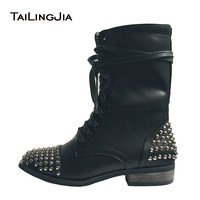 Women Combat Boots Black 2017 Flat Rivets Ankle Boots Cool Girl Studs Booties Lace Up Punk