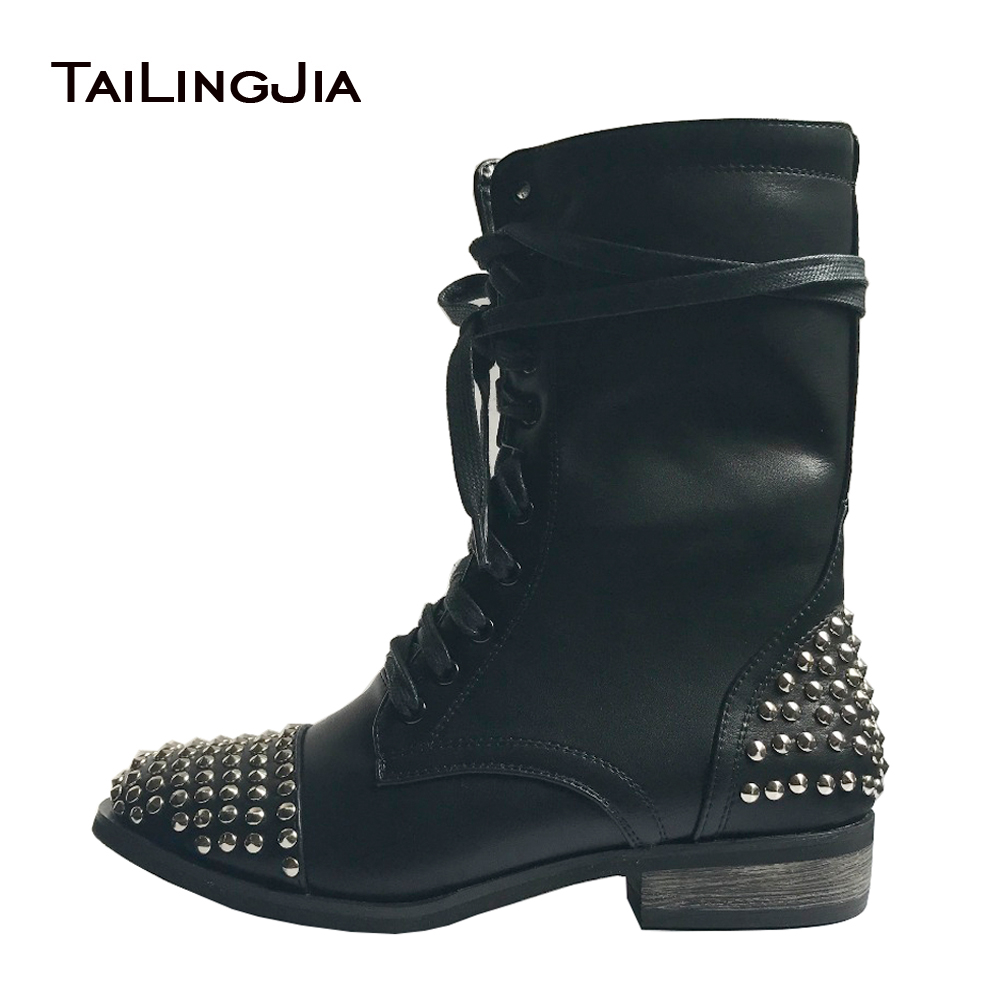 83efb0f6379 Women Combat Boots Black 2018 Flat Rivets Ankle Boots Cool Girl ...