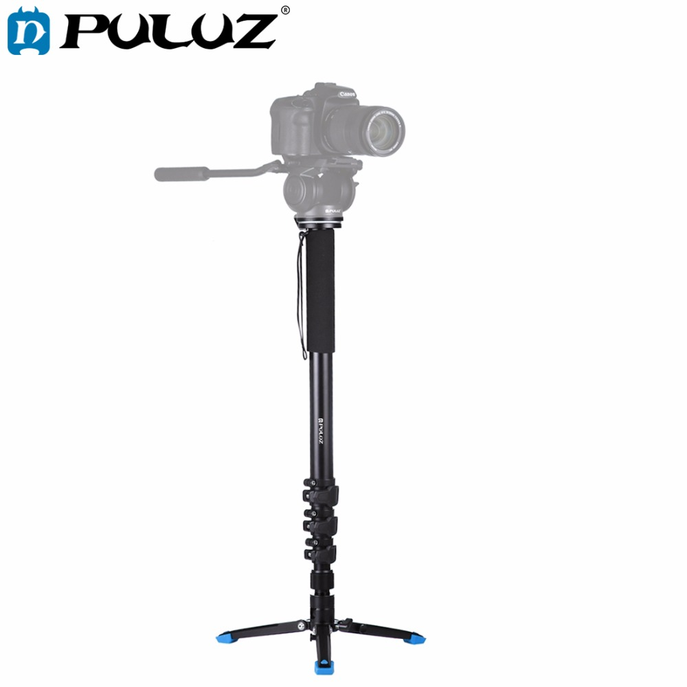 PULUZ Four-Section Telescoping Aluminum-magnesium Alloy Self-Standing Monopod/Camera Tripod legs with Support Base Bracket new portable waterproof monopod tripod telescoping extendable pole handheld camera tripod