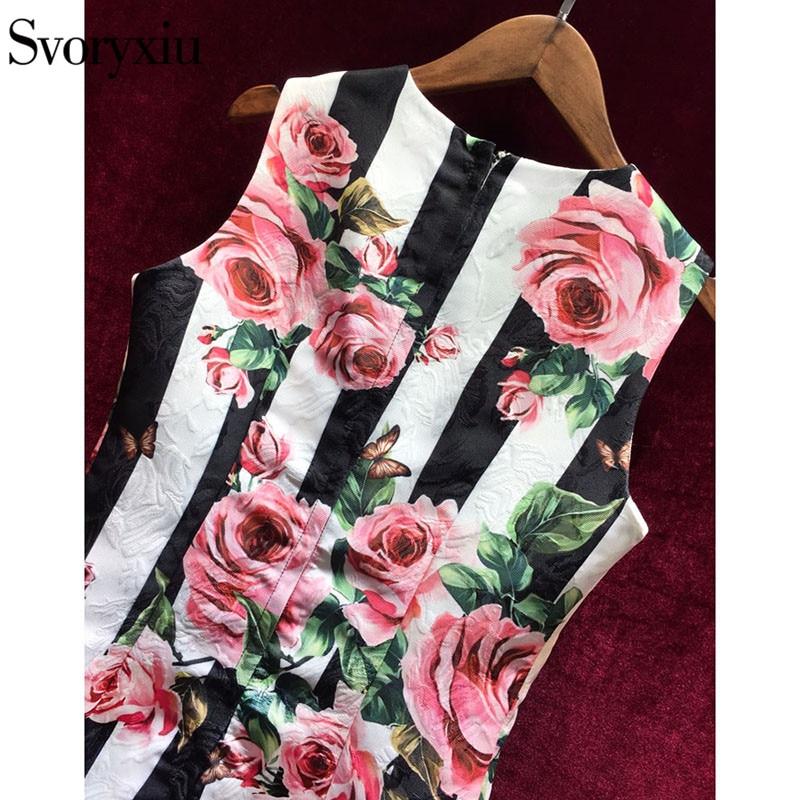425d0bc99c6b Fashion Runway Summer Tank Dress Women s Color Button Striped Rose Floral  Print Vintage Party Short Dress