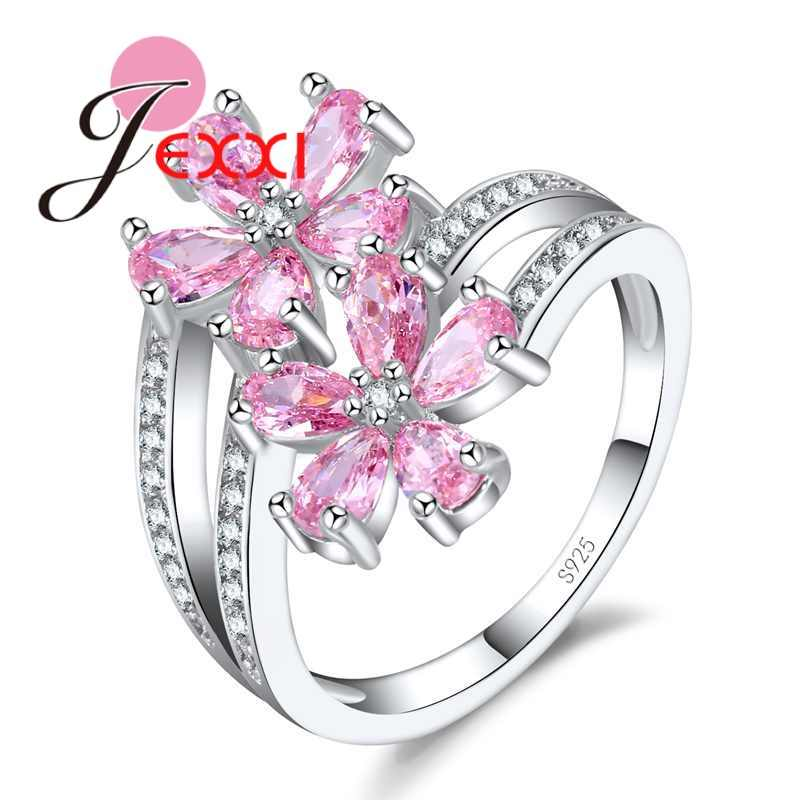High Quality Clear AAA+ Zircon Flower Ring for Women Girls Christmas Gift Shiny Pink Color 925 Sterling Silver Bague