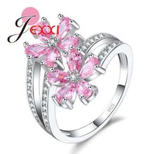 JEXXI High Quality Clear AAA+ Zircon Flower Ring for Women Girls Christmas Gift Shiny Pink Color S90 Silver Color Bague(China)