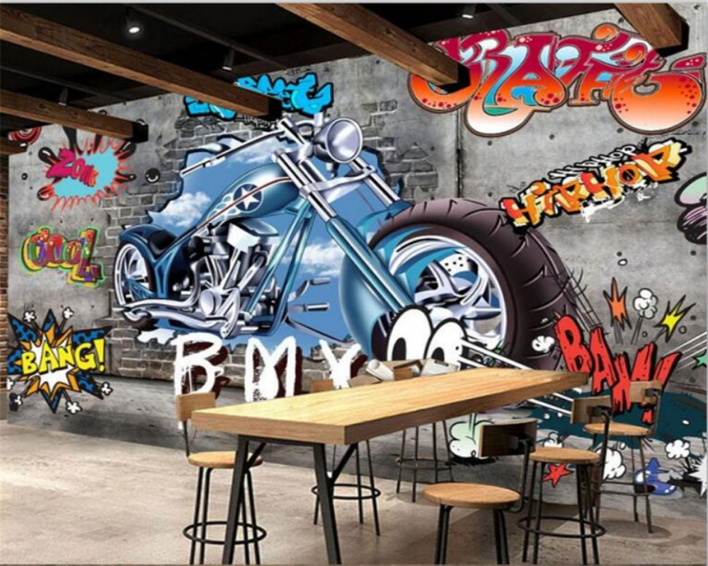 Beibehang  Custom Wallpaper Home Decoration Graffiti Motorcycle Photo Wallpaper Hotel Design Living Room Background 3d Wallpaper