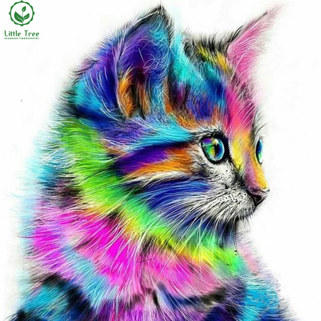 Image of: Elementary 5d Diamond Embroidery Rainbow Cat Cross Stitch Animal Full Mosaic Art Diamond Painting Square Rhinestone Embroidery Wall Sticker Aliexpress 5d Diamond Embroidery Rainbow Cat Cross Stitch Animal Full Mosaic