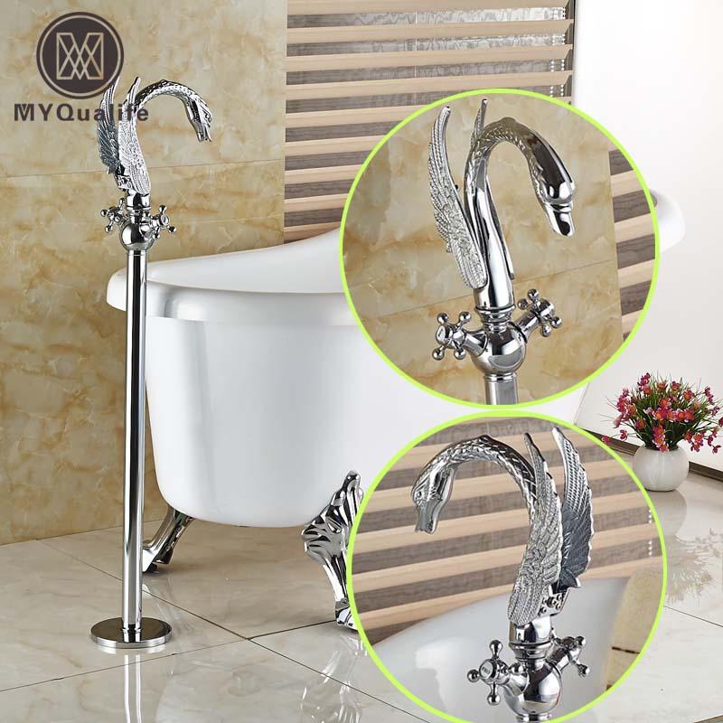 ᗑ】Creative Swan Style Dual Handles Floor Mount Bathtub Faucet Set ...