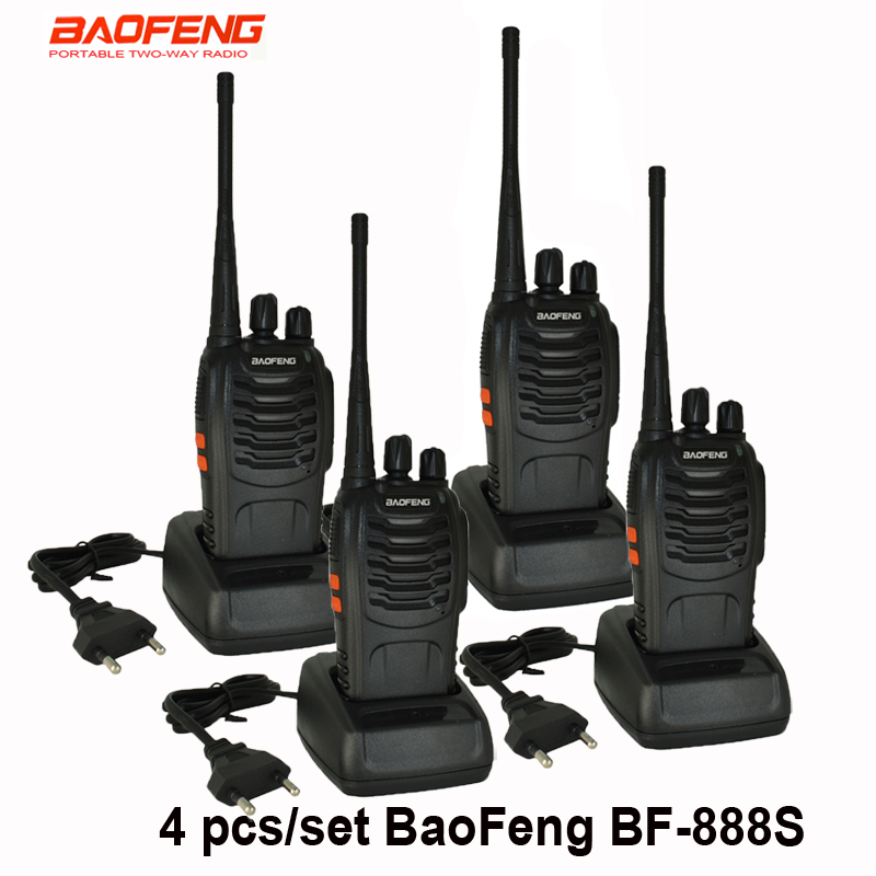 4 pcs set New Original Baofeng BF888S Walkie Talkie BF 888s 5W 16CH UHF 400 470MHz