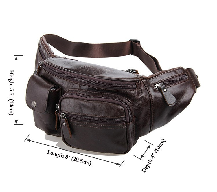 Vintage genuine leather waist packs fanny pack Fashion men small travel bag Pocket sports waist wallet  for men Free shipping (10)
