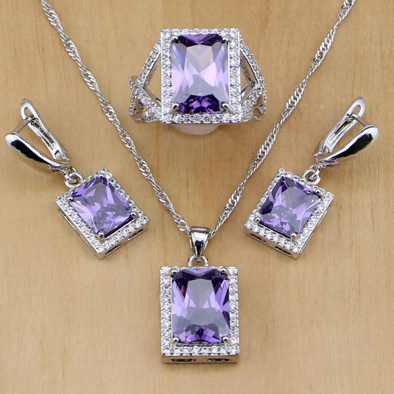 925 Sterling Silver Jewelry Purple Cubic Zirconia White Zircon Jewelry Sets For Women Earring/Pendant/Necklace/Ring