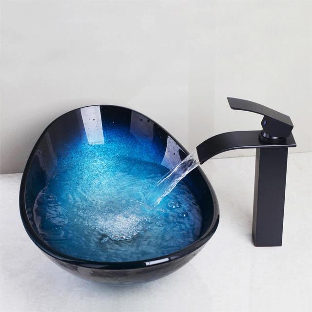 Jieni 강화 유리 손으로 그린 폭포 분출 분지 블랙 탭 욕실 싱크 세면기 목욕 황동 세트 수도꼭지 믹서 도청 블루