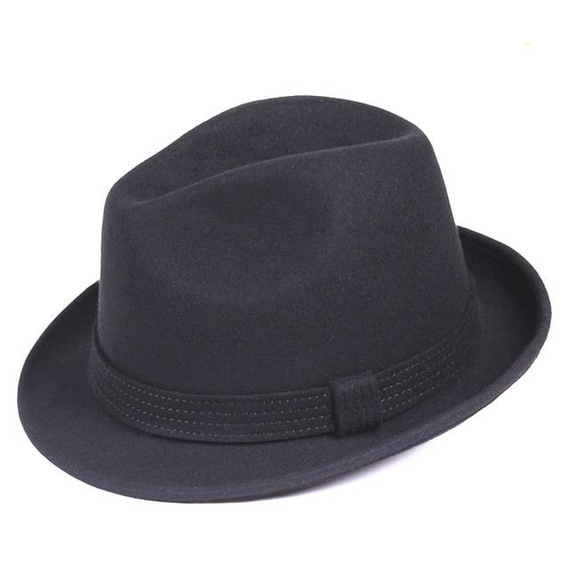 Classic Black Men s Wool Felt Stingy Brim Trilby Fedora Jazz Hat - 4cm Brim 5f0019145cb