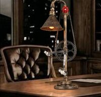 Table Lamp Retro For Living Room Industrial Restaurant Pipe Water Chain Retro Iron Industry Creative Study Bedroom Bedside