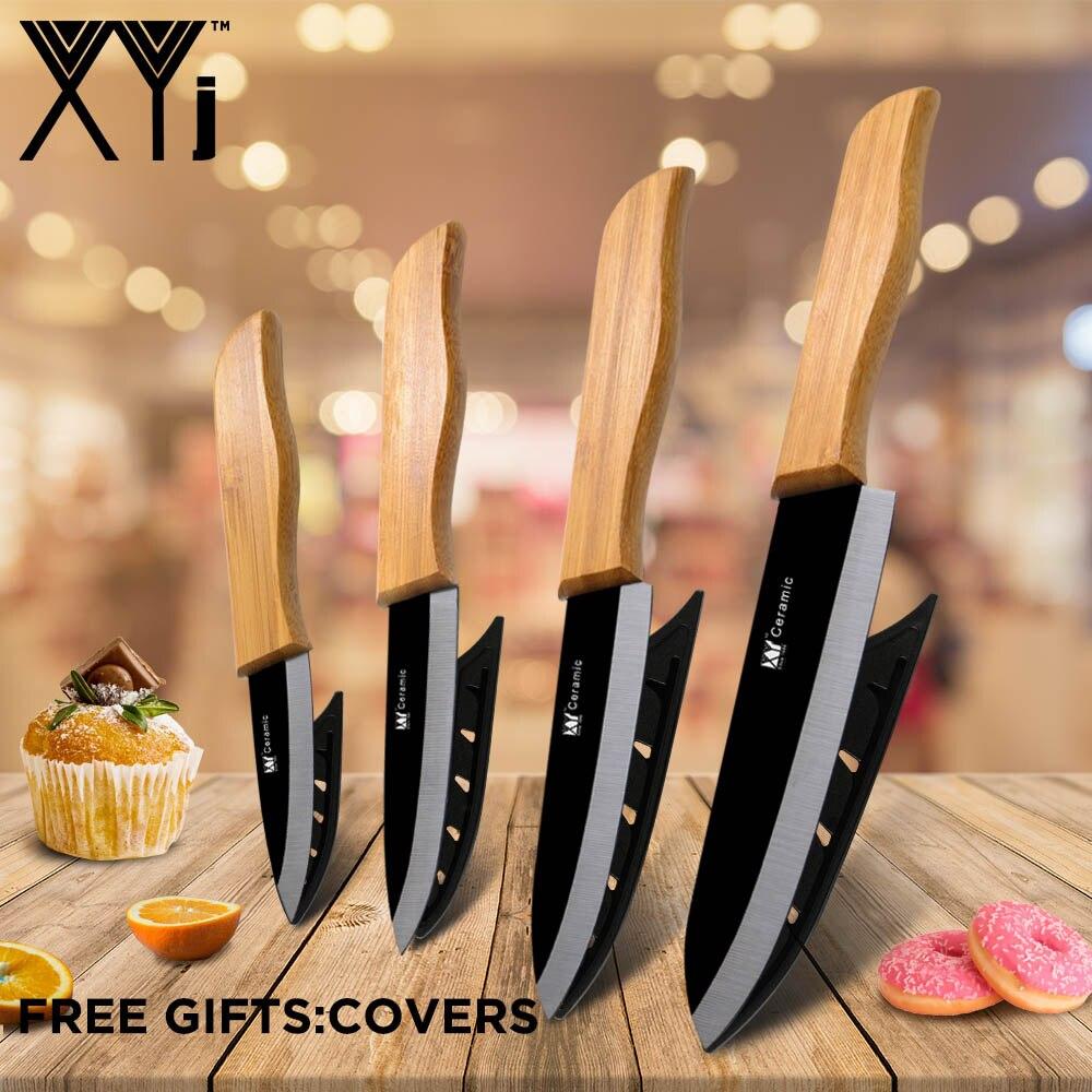 Xyj cutelo de carne facas chef óxido de zircônio cerâmica faca de cozinha define chef faca utral lâmina afiada punho bambu