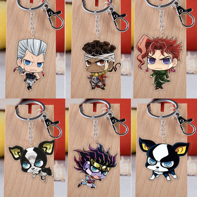 Anime JOJO Bizarre Adventure Keychain Cartoon Figure Acrylic Pendent Keyring