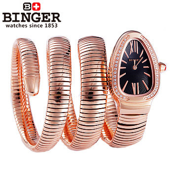 Luxury High Quality Snake Women Wholesale Wristwatch Binger crystal Golden Steel Analog Quartz Watch Bangle wrist watches Lady