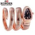Luxury High Quality Snake Women Wholesale Wristwatch Binger crystal Golden Steel Analog Quartz Watch Bangle wrist watches Lady