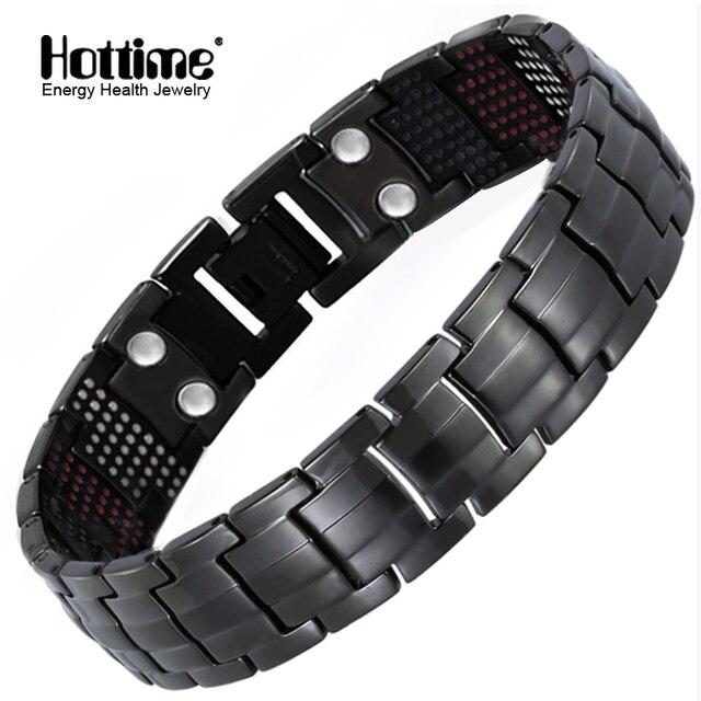 Hottime 591 ADET Enerji Taş Titanyum Çelik Manyetik Bilezik ve Bilezikler Siyah Gun Kaplama Germanyum Bilezik Moda Erkekler Takı