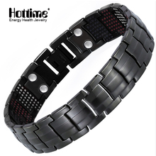 Hottime 591 個エネルギー石チタン鋼磁気ブレスレット & バングル黒銃メッキゲルマニウムブレスレットファッションメンズジュエリー