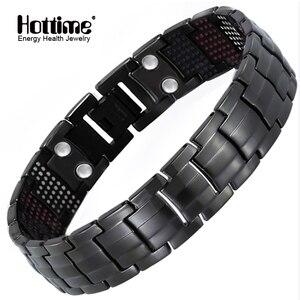 Image 1 - Hottime 591 יחידות אבן אנרגיה מגנטי פלדת טיטניום גרמניום שחור אקדח ציפוי צמידים & צמידי תכשיטי צמיד האופנה גברים