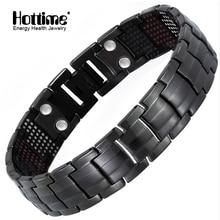 Hottime 591PCS Energy Stone Titanium Steel Magnetic Bracelets & Bangles Black Gun Plated Germanium Bracelet Fashion Men Jewelry