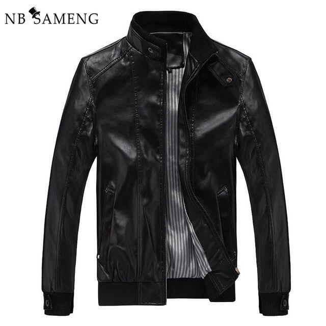 2016 New Fashion Male Leather Jacket Plus Size XXXL 4XL 5XL Black Brown Mens Mandarin Collar PU Coats 13M0691