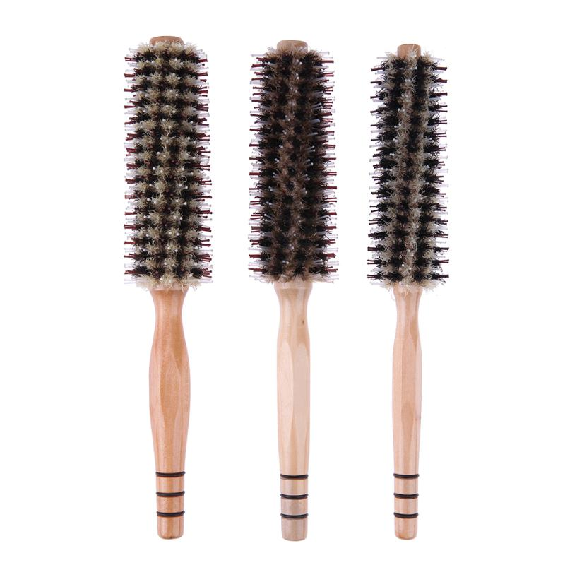4da66e320628a Pelo rizado Peine Mango de madera de alta calidad resistente al calor Roll Peine  Cepillo para el cabello Peine esponjoso Peluquería Herramienta de peinado