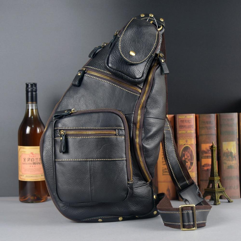 MEIGARDASS Genuine Leather Men Messenger Bag Casual Chest Bag Male Crossbody Bags for men Sling Shoulder Bag travel chest packs