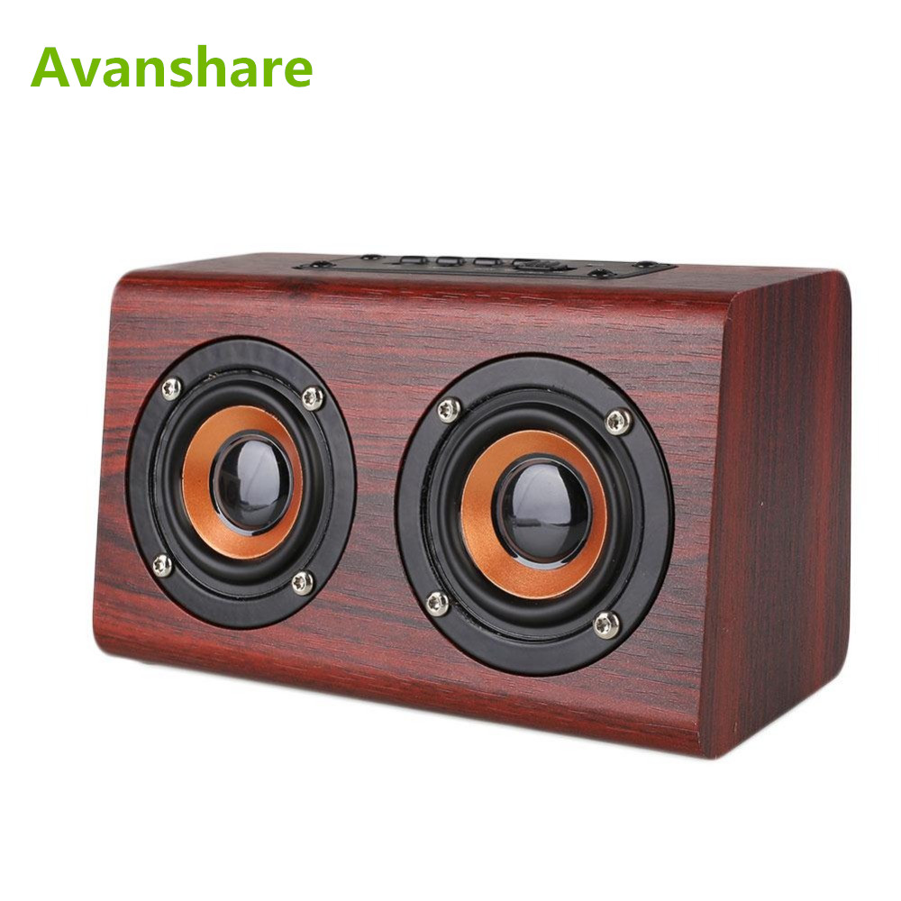 Avanshare Leseni Bluetooth zvočnik Retro Wood HIFI 3D Dvojni - Prenosni avdio in video - Fotografija 1