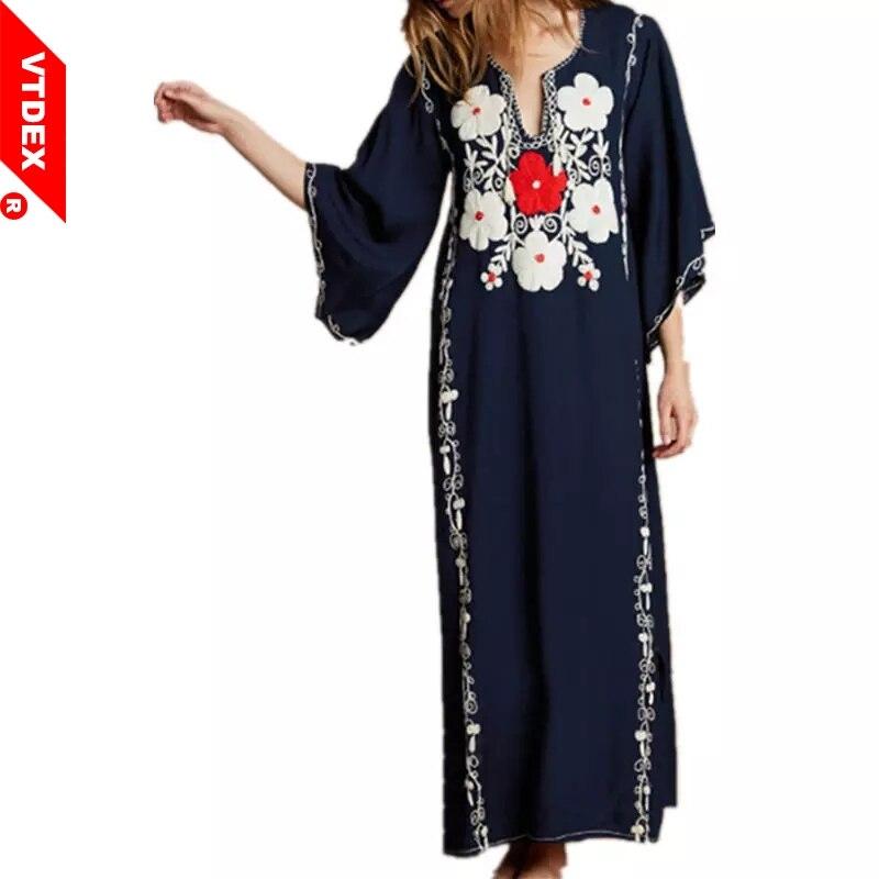 5b98ff803c38f Embroidery Long Kaftan Dress 2018 Women Navy Blue Loose Beach Cover Up Side  Split V Neck Kimono Beach Pareo Playa