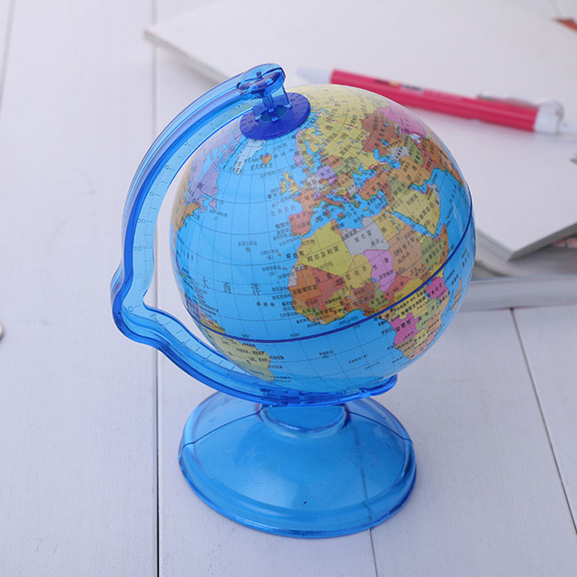 New LED World Map World Globe Rotating Swivel Map of Earth Geography Globe Figurines Ornaments Birthday Gift Home Office Decor diy scratch globe 3d stereo assembly globe world map travel kid child toy gift
