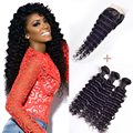 Grade 7a Malaysian Deep Wave With Closure 3 Bundles Malaysian Virgin Hair With Closure Human Hair Bundles With Lace Closures