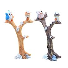 1pcs Owl Tree Branches Ornament DIY Micro Landscape Accessories Exquisite Ornament 5.1*8.6cm(China)