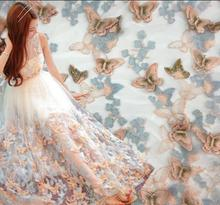 2style Embroidered butterfly three-dimensional Flower pattern organza fabric lace wedding gauze prom tweed 100*140cm A013