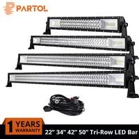 Partol 22 32 42 50 324W 486W 594W 702W Tri Row LED Light Bar Combo Beam