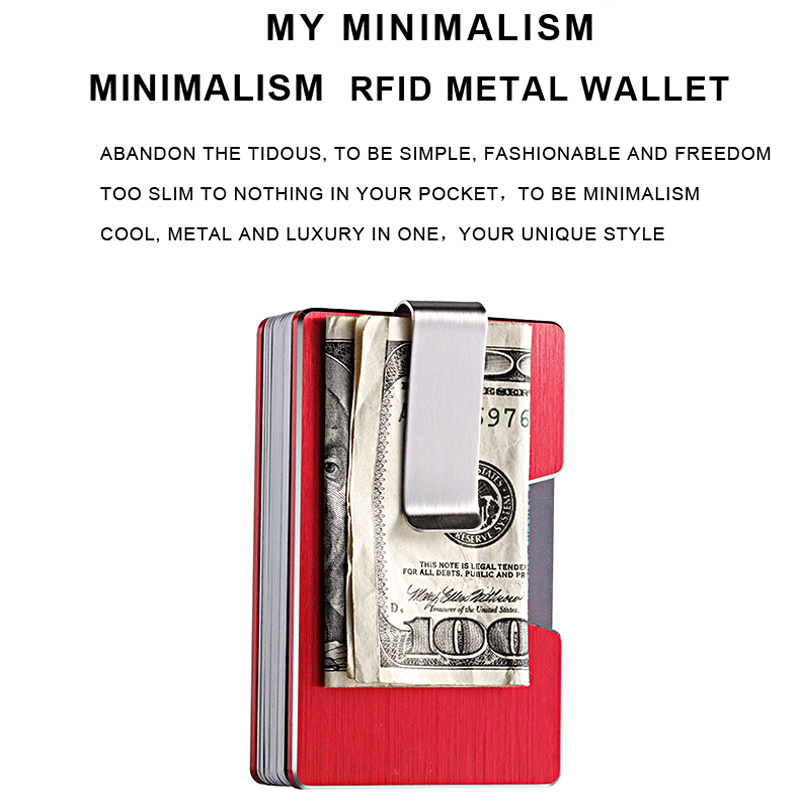 Minimalist RFID/NFC Blocking Anti-Theft Wallet with Portable Metal Steel Money Clip Short Bill Purse for Fashion Business Men